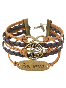 Tree Of Life Braided Bracelet - Brown