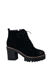 Tie Up Chunky Heel Zip Ankle Boots - Black