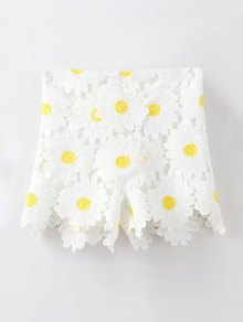 Sunflowers Lace High Waist Shorts