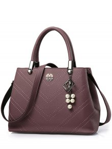 Pendant Stitching PU Leather Tote Bag - Purplish Red
