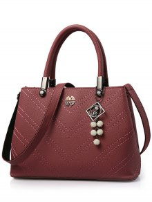 Pendant Stitching PU Leather Tote Bag - Dark Red