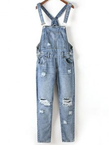 Bleach Wash Ripped Denim Overalls - Blue