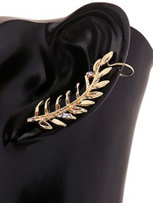 Rhinestones Leaf Clip Earring