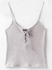 Solid Color Cami Lace Up Tank Top - Light Gray