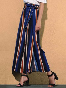 Striped Color Block High Waist Wide Leg Pant - Blue
