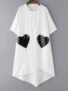 فستان مخطط بجيوب حاشية غير منتظمة - أبيض M