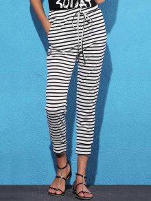 Belted Striped High Waist Harem Pant