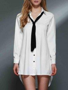 Bowknot Embellished Tunic Shirt Dress - White M