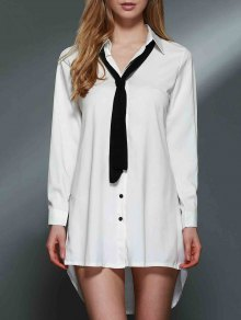 Bowknot Embellished Tunic Shirt Dress