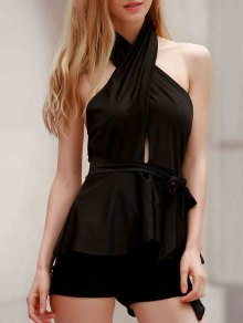 Halter Open Back Peplum Top