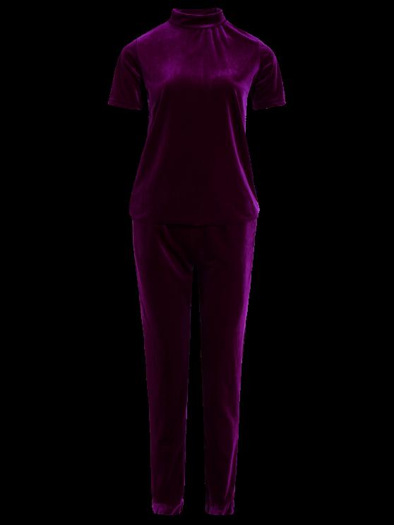 Velvet Tee and Jogging Pants Sweat Suit - PURPLISH RED L Mobile