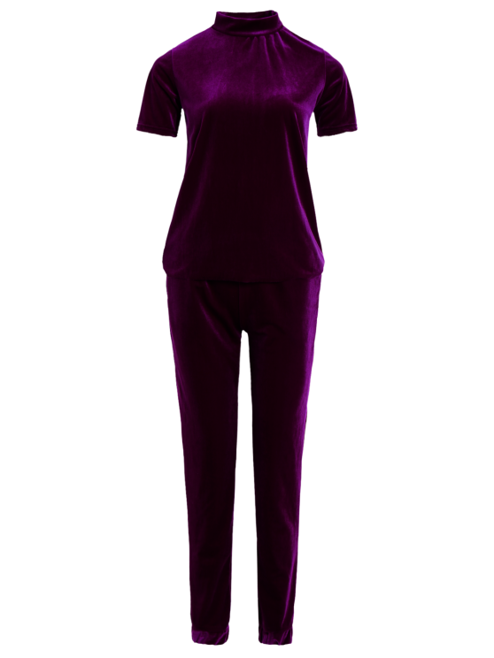 Velvet Tee and Jogging Pants Sweat Suit - PURPLISH RED M Mobile