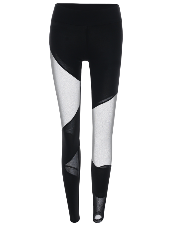 Mesh Insert Gym Sports Leggings - BLACK L Mobile