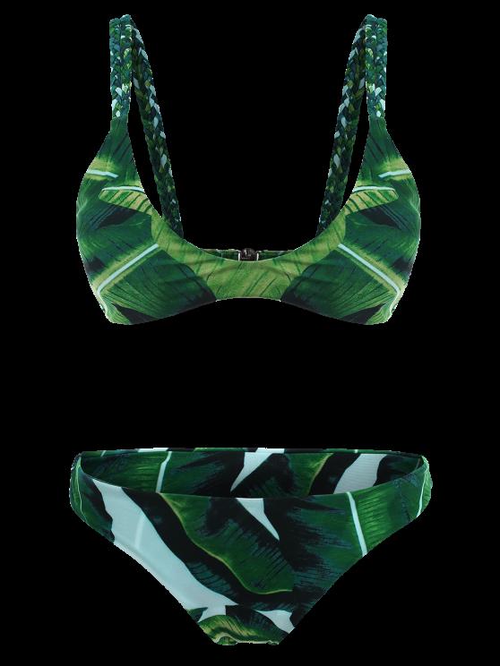 Palm Tree Braided Cami Bikini Set - GREEN M Mobile