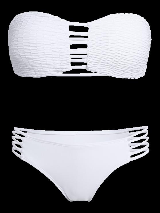 Cut Out Tube Bikini Set - WHITE S Mobile
