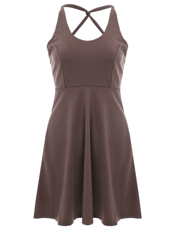 Solid Color Backless Scoop Neck Dress - LIGHT BROWN 2XL Mobile