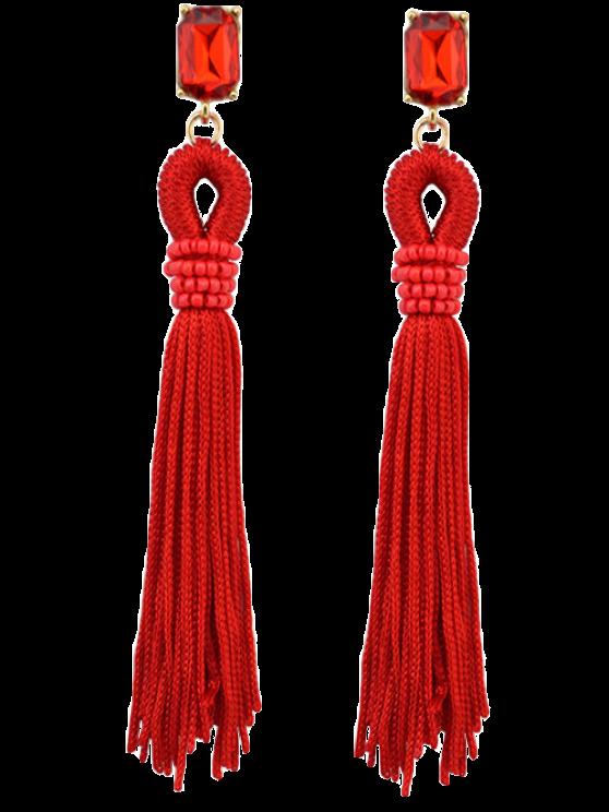 trendy Faux Crystal Fringe Earrings - RED