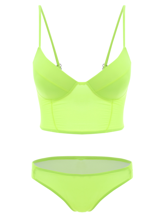 Long Line Bikini Top and Bottoms - NEON GREEN L Mobile