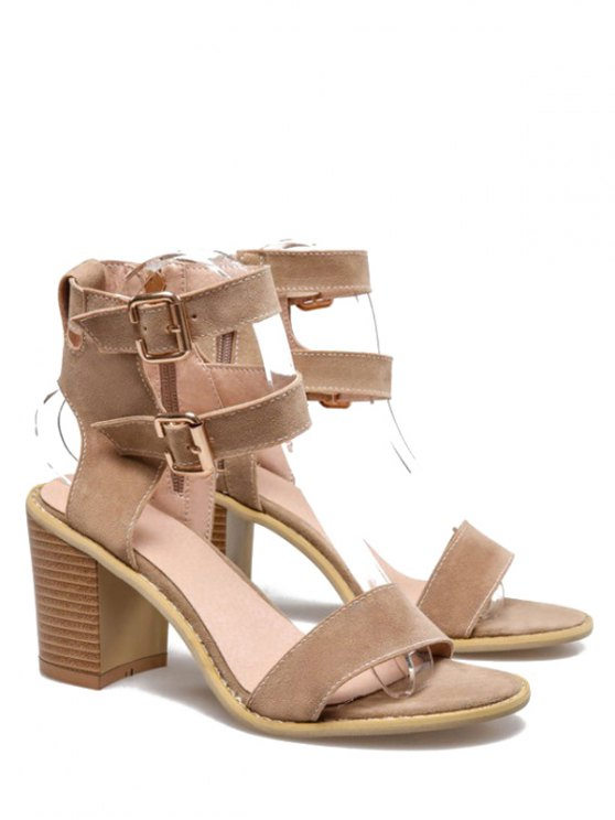 Solid Color Double Buckles Chunky Heel Sandals - APRICOT 39 Mobile
