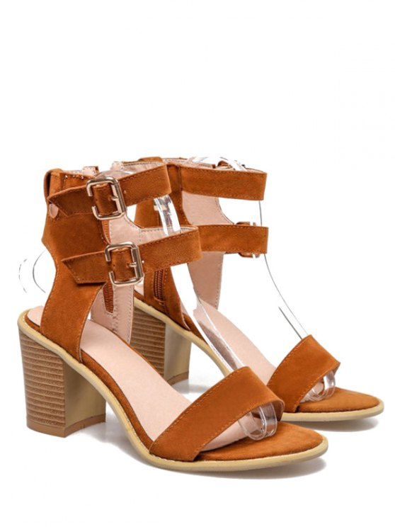 Solid Color Double Buckles Chunky Heel Sandals - BROWN 39 Mobile