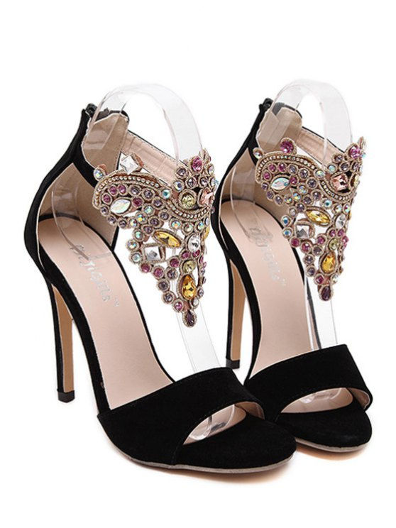 Flock Stiletto Heel Colorful Rhinestone Sandals - BLACK 38 Mobile