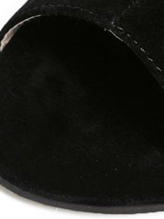 Hollow Out Flock Black Peep Toe Shoes - BLACK 36 Mobile