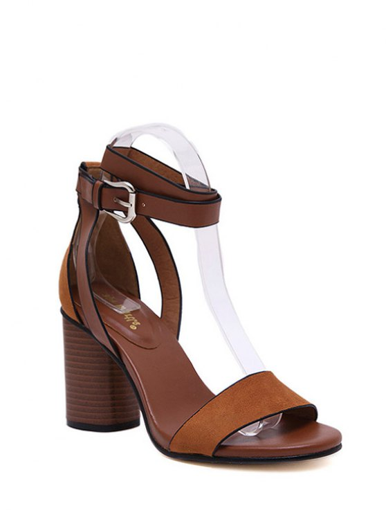 Chunky Heel Suede Ankle Strap Sandals - BROWN 39 Mobile