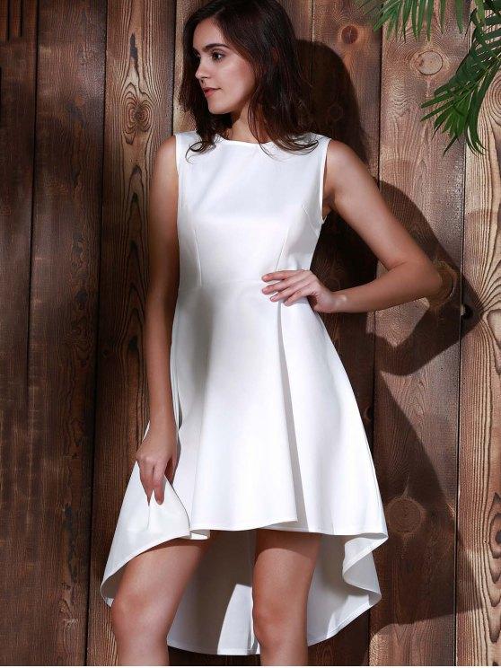 High Low Sleeveless White Evening Dress - WHITE L Mobile
