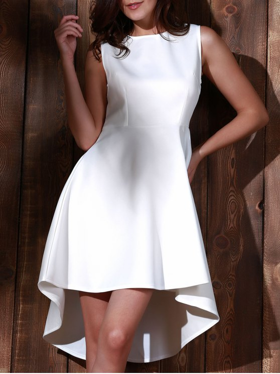 Ronda de alta escote sin mangas vestido de línea A - Blanco L