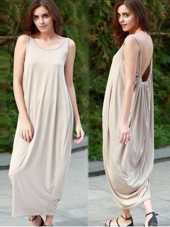 Color sólido Vestido de tirantes sin respaldo Maxi - Caqui S