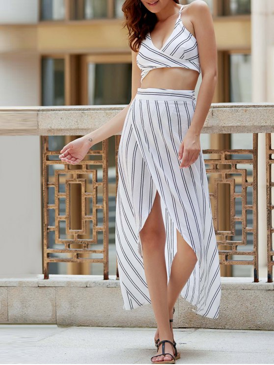 ladies Striped Spaghetti Straps Backless Crop Top - WHITE M