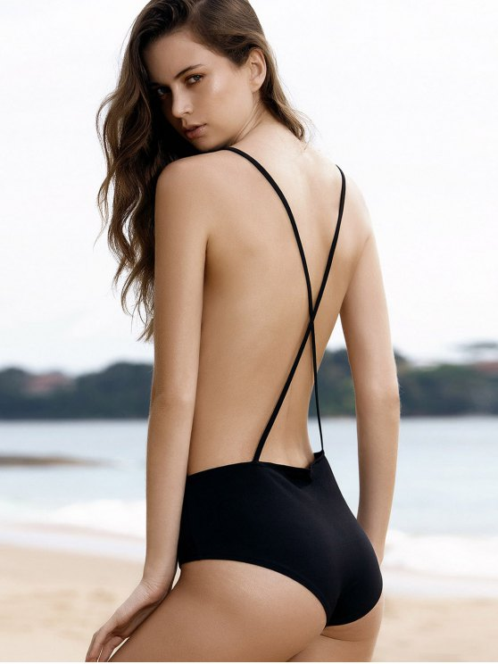 Plunge Backless One-Piece Swimwear - BLACK M Mobile