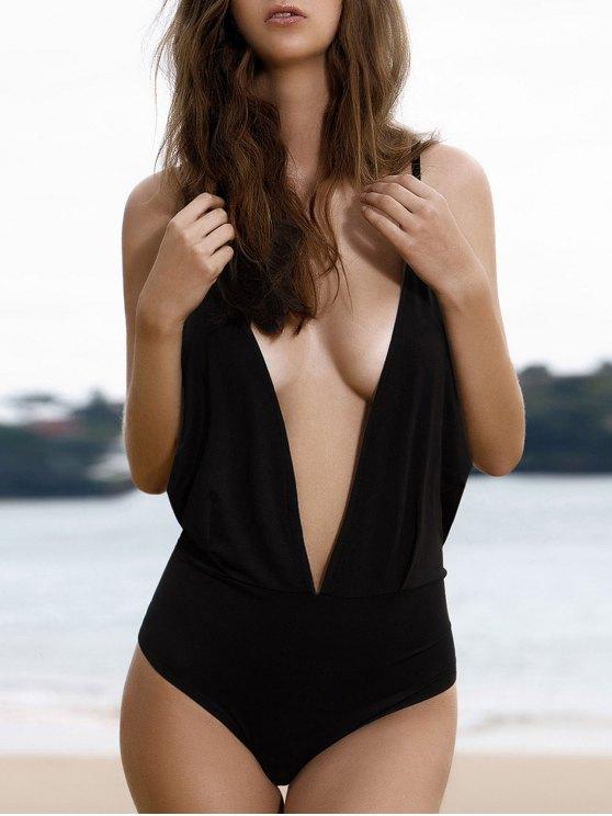 Plunge Backless One-Piece Swimwear - BLACK L Mobile