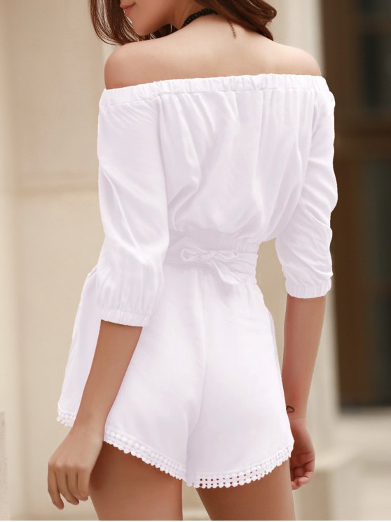Off The Shoulder Crop Top and Solid Color Shorts Suit - WHITE L Mobile