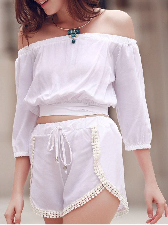 Off The Shoulder Crop Top et Short couleur unie Suit - Blanc M