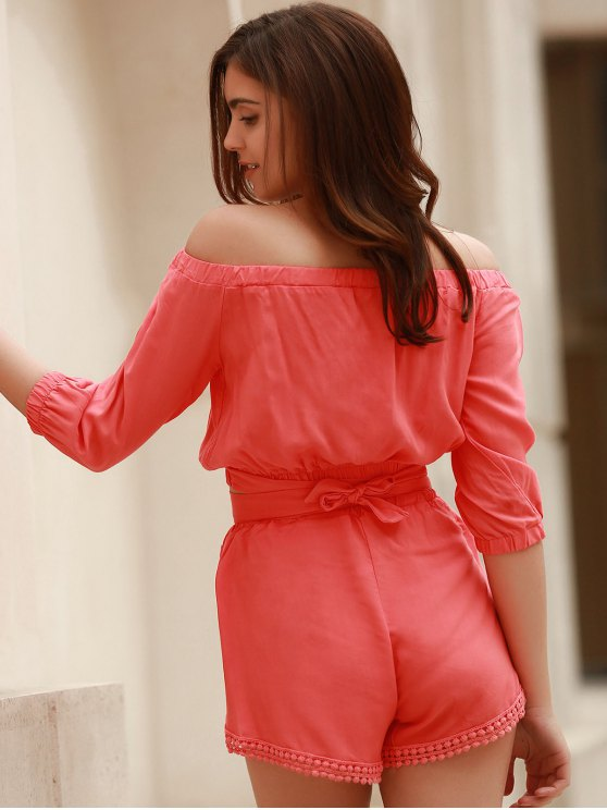 Off The Shoulder Crop Top and Solid Color Shorts Suit - PINK S Mobile