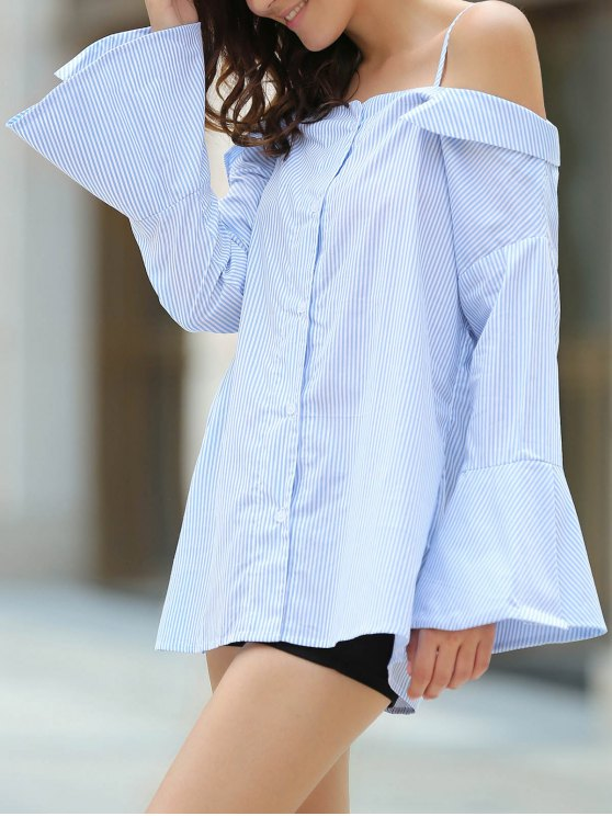 Striped Cold Shoulder Bell Sleeve Shirt - LIGHT BLUE S Mobile