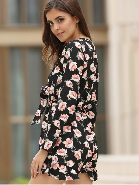 Lace-Up Floral Print Plunging Neck Long Sleeve Playsuit - BLACK S Mobile