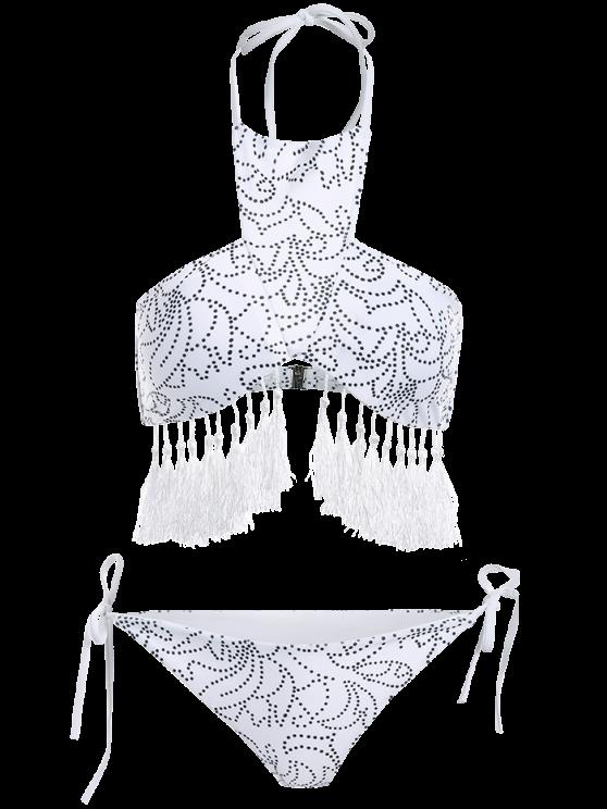 Tassels Halter Printed String Bikini - WHITE L Mobile