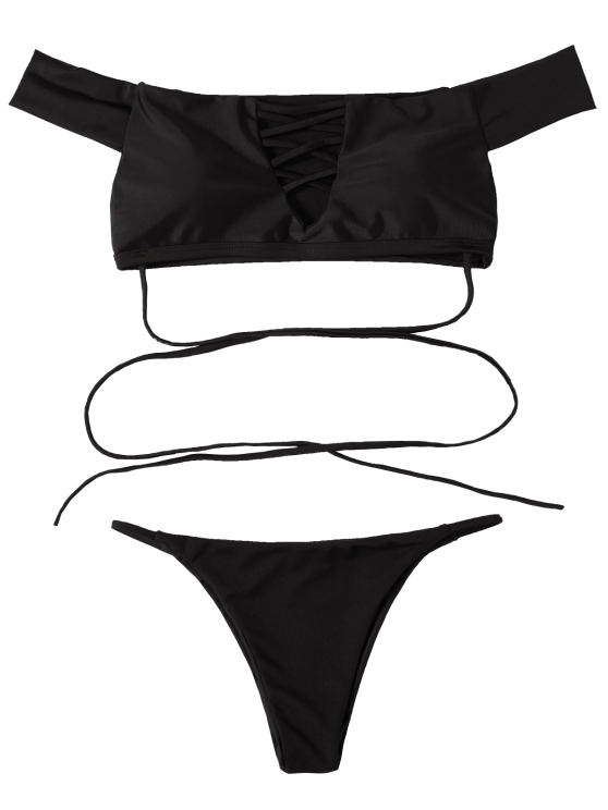 Lace-Up Off The Shoulder Bikini Set - BLACK M Mobile