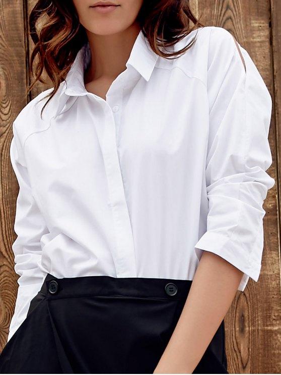 انقسام الأكمام كم طويل قميص - أبيض S