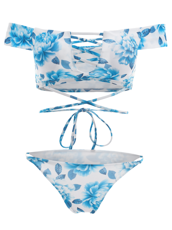 Cut Out Off The Shoulder Bikini Set - BLUE L Mobile
