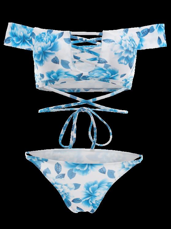 Cut Out Off The Shoulder Bikini Set - BLUE M Mobile