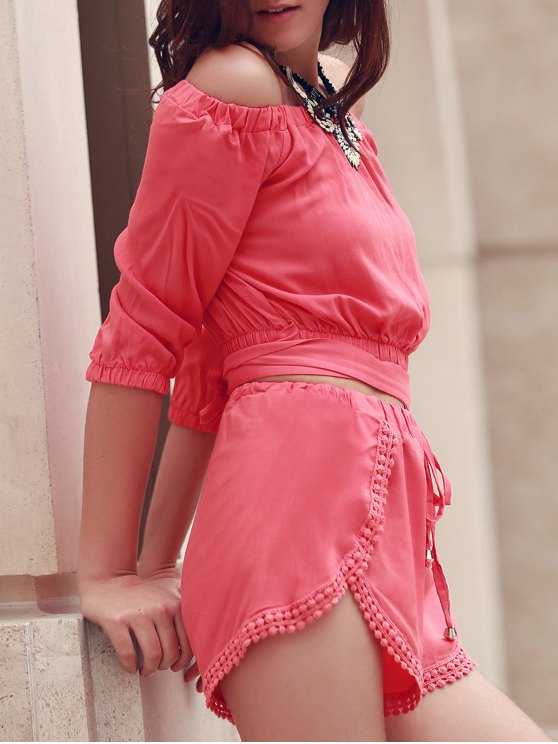 outfit Off The Shoulder Crop Top and Solid Color Shorts Suit - PINK L