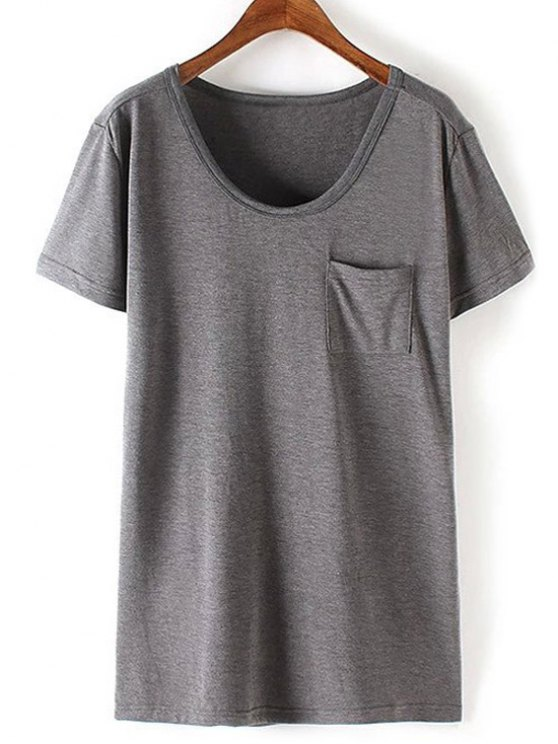 hot Patchwork Pocket Solid Color T-Shirt - GRAY XL