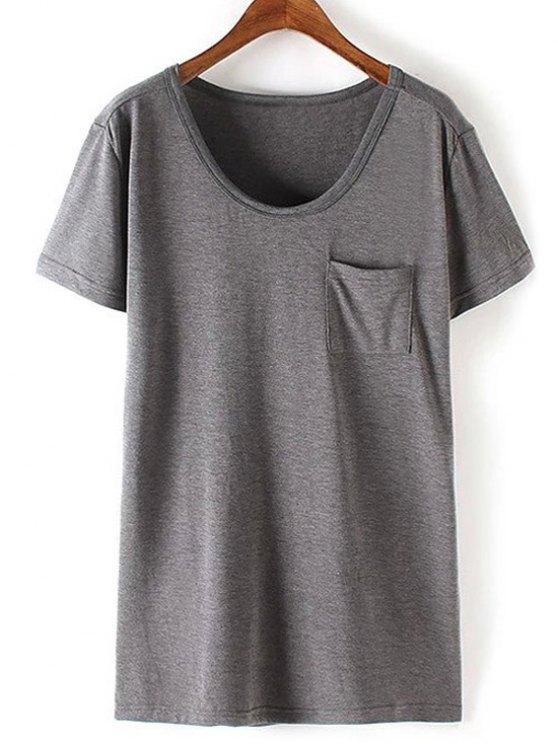 Patchwork Pocket T-Shirt Solid Color - Gris XL