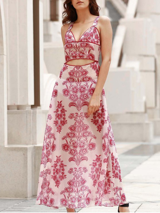 trendy Waist Cutout Maxi Beach Dress - RED WITH WHITE M