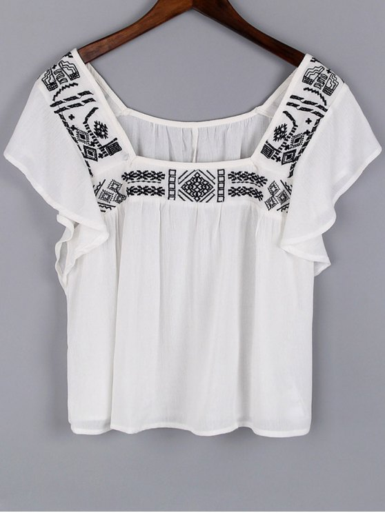 womens Embroidery Square Neck Short Sleeve Blouse - WHITE L