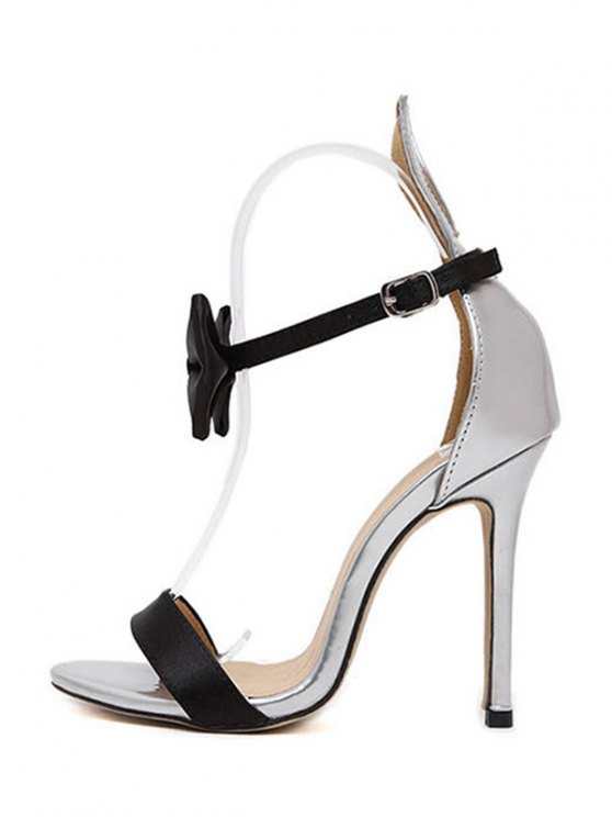 Bow Bunny Ear Stiletto Heel Sandals - SILVER 39 Mobile