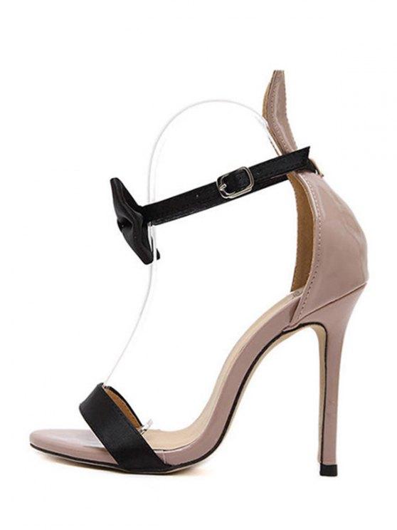 Bow Bunny Ear Stiletto Heel Sandals - NUDE 37 Mobile